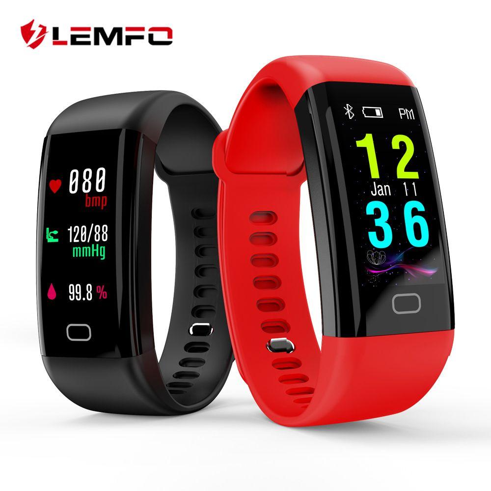 LEMFO Smart Band 2018 Color Touch Screen <font><b>ip68</b></font> Waterproof Blood Pressure Oxygen Heart Rate Monitor Sport Bracelet Talk Band Mi