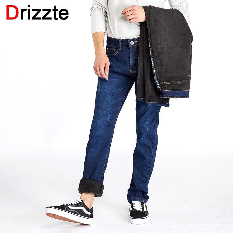 Drizzte Winter Mens Plus Size Stretch Thicken Jeans Warm Fleece Flannel Lined Quality Denim Jean Pants Trousers