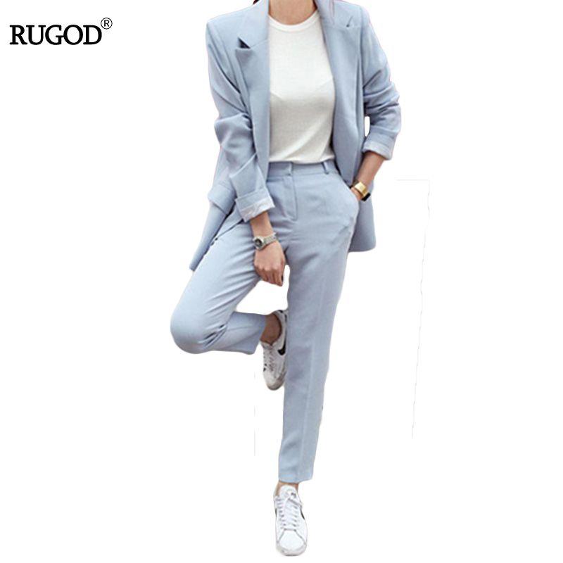 RUGOD Nouvelle Blazers Pantalon Costume Solide Simple 2 deux Pièces Ensemble longue Mince Veste + Pantalon slim femmes blazers Et vestes Plus taille