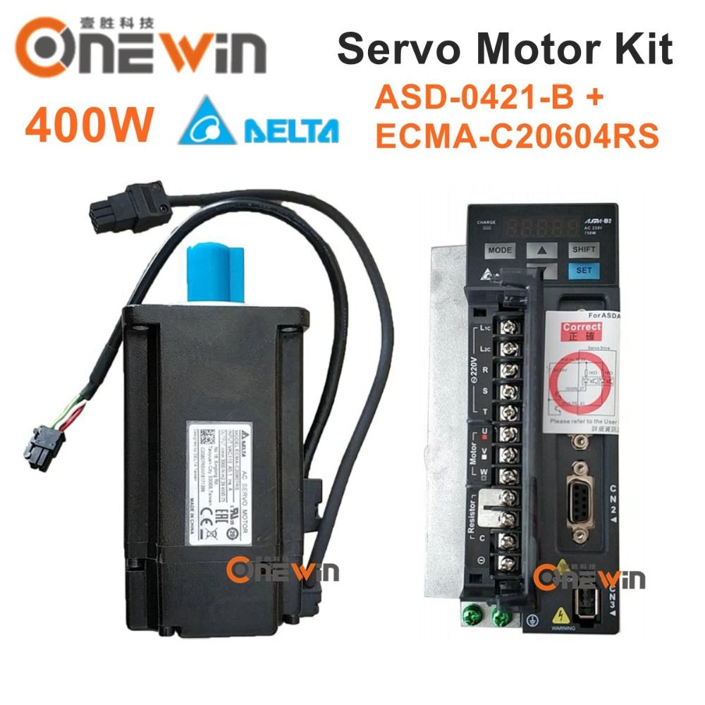 Delta 400W AC servo motor drive kit ECMA-C20604RS+ASD-B2-0421-B diameter 60mm 220V 1.27NM 3000rpm with 3m cable