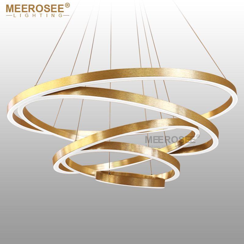 Große Ringe LED Pendelleuchten Gold Hängelampe für Restaurant Pendelleuchte Acryl Kreis Lampadario Lüster Beleuchtung