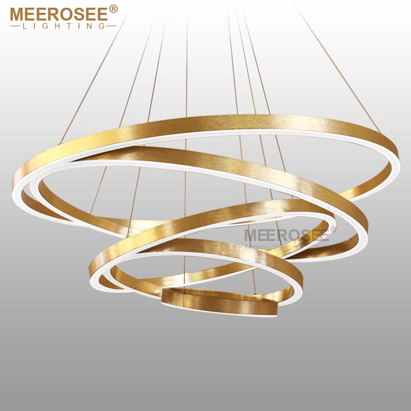 Large Rings LED Pendant Lights Gold Hanging Lamp for Restaurant Pendant Lamp Acrylic Circle Lampadario Lustres Lighting