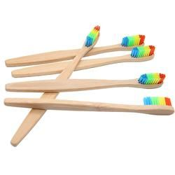 4 pcs Wooden Rainbow Bamboo Toothbrush Oral Care Soft Bristle Head Bamboo Toothbrush Wholesale