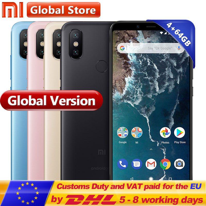Globale Version Original Xiao mi mi A2 64 gb ROM Smartphone 4 gb RAM Dual 20.0MP Snapdragon 660 Octa Core 3010 mah 5,99