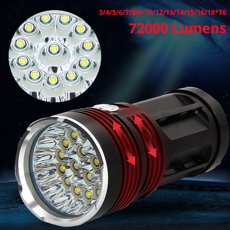 Powerful LED Flashlight 72000 Lumens 3to18*T6 LED Torch Light Tactical Flashlight 5Modes Linterna Portable Lamp Light By 4*18650