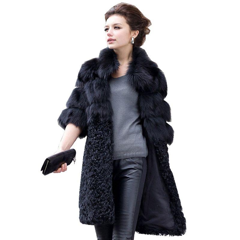Luxus Echte Natürliche Fuchspelz Mantel Jacke Lamm Pelz Patchwork Winter-frauen-pelz-trench Würfe Mäntel Plus Größe VK1497