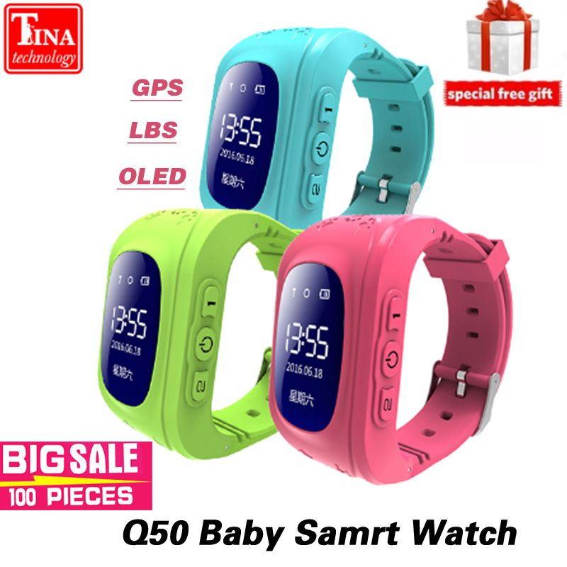 Q50 OLED Écran GPS Smart Kid Montre SOS Call Lieu Finder Locator Tracker pour Childreb Anti Perdu Moniteur Bébé Montre-Bracelet