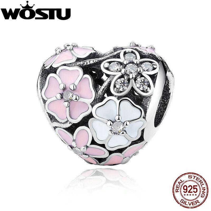 Aliexpress 100% 925 Sterling Argent Poétique Fleurs Perles Fit Original WST Charme Bracelet Authentique De Luxe DIY Bijoux Cadeau