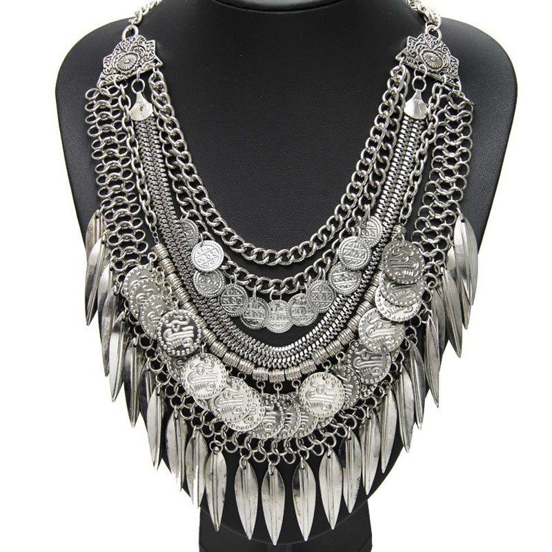 Femmes collier gitane bijoux de mode bohème Antique argent pièce collier Vintage à la mode turc indien ethnique collier 2015