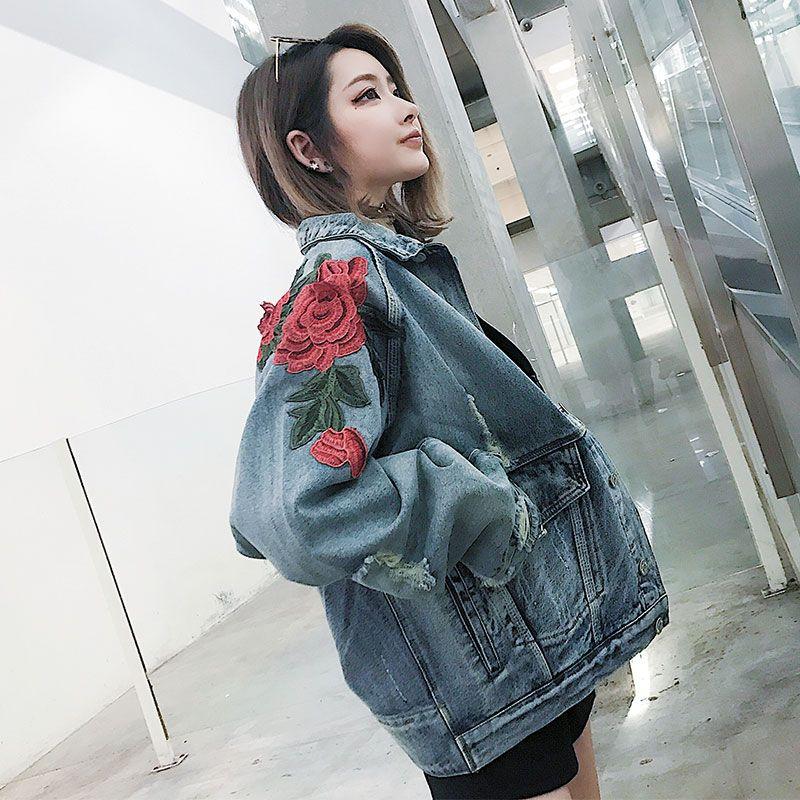 Jeans Coat Women Rose Clothes Hip Hop Coat Fashion Flowers Jackets Us Size S-XL