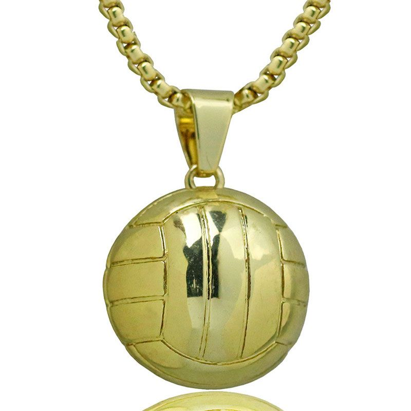 Hombres Voleibol Bola Amante Del Deporte de Acero Inoxidable Colgante de Collar de Cadena Del Color Del Oro Del Encanto Collares Joyería de la Fuerza Atlética