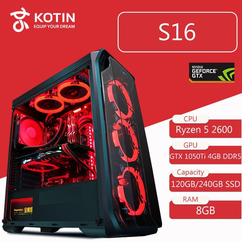 KOTIN S16 Desktop Computer Gaming PC AMD Ryzen5 2600 120 GB 240G SSD PUBG PC 400 W NETZTEIL 5 rote LED Fans Fernbedienung Licht Bar