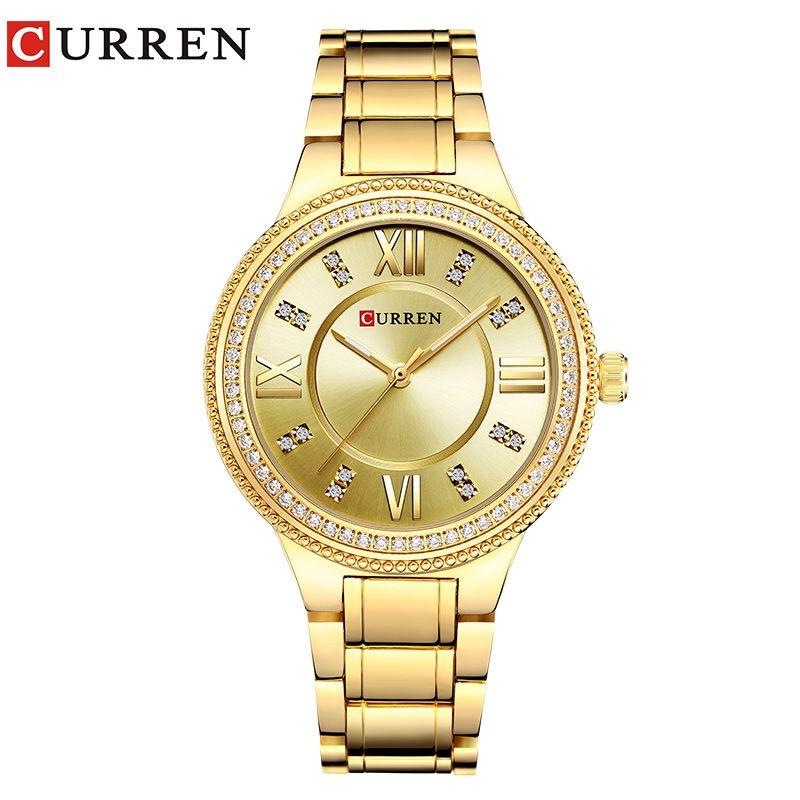 CURREN 9004 Top Luxury Brand Women Quartz Watch Crystal Design Ladies wristwatches relogio feminino