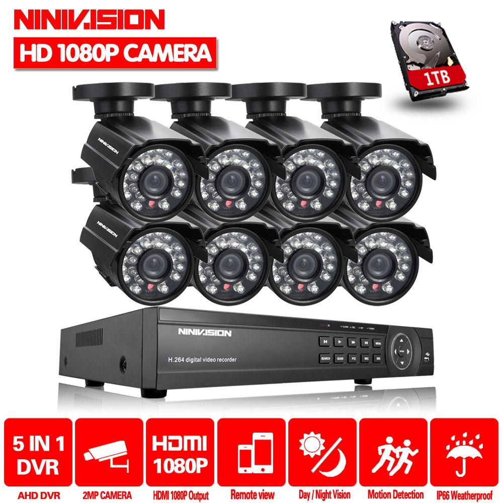NINIVISION 8CH HD Camera System 2.0MP 3000TVL Outdoor 8 Channel 1080P AHD DVR Kit 8Ch Surveillance Security CCTV Camera System