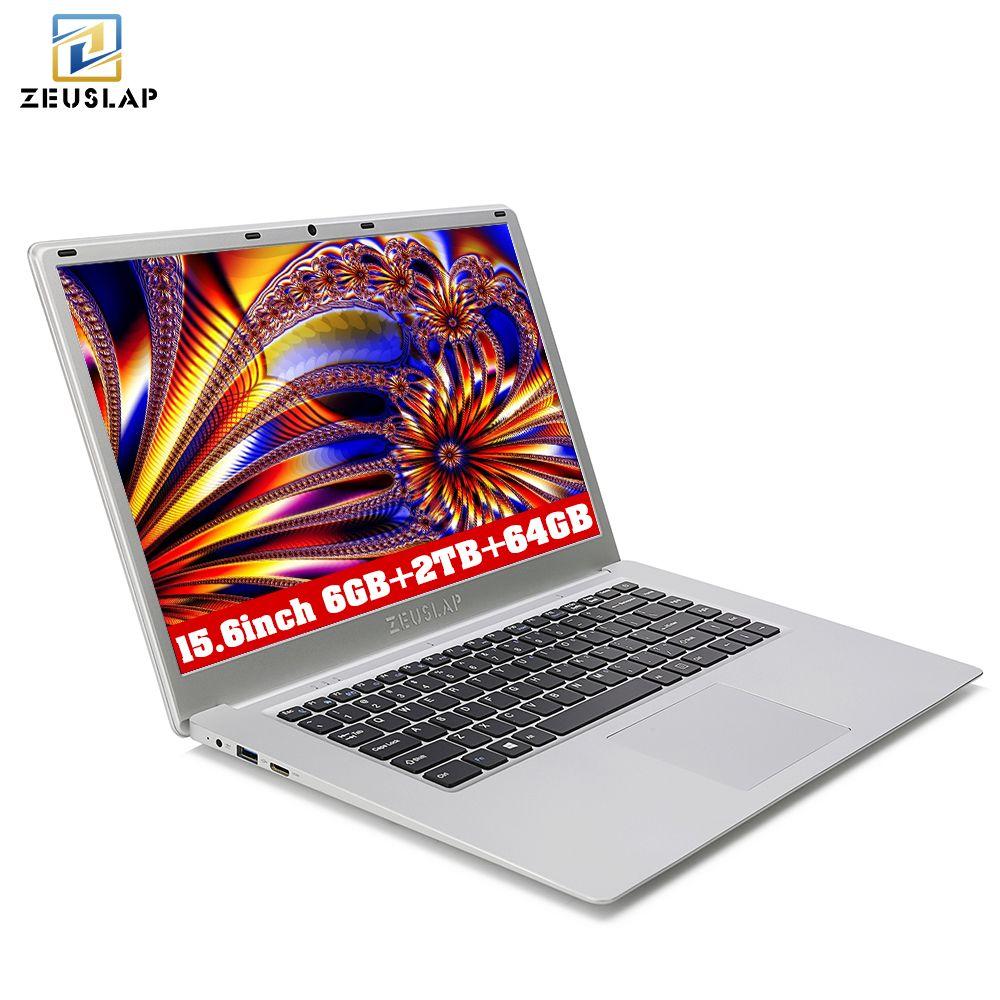 ZEUSLAP 6GB RAM+2TB HDD+64GB eMMC Dual Disks Windows 10 System Ultrathin 1920X1080 HD Fast Running Laptop Computer Notebook