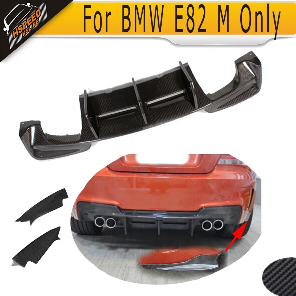 1 Series M Carbon Fiber Racing Rear Trunk Diffuser Lip spoiler With splitter apron for BMW E82 M Bumper Only 2011 - 2017
