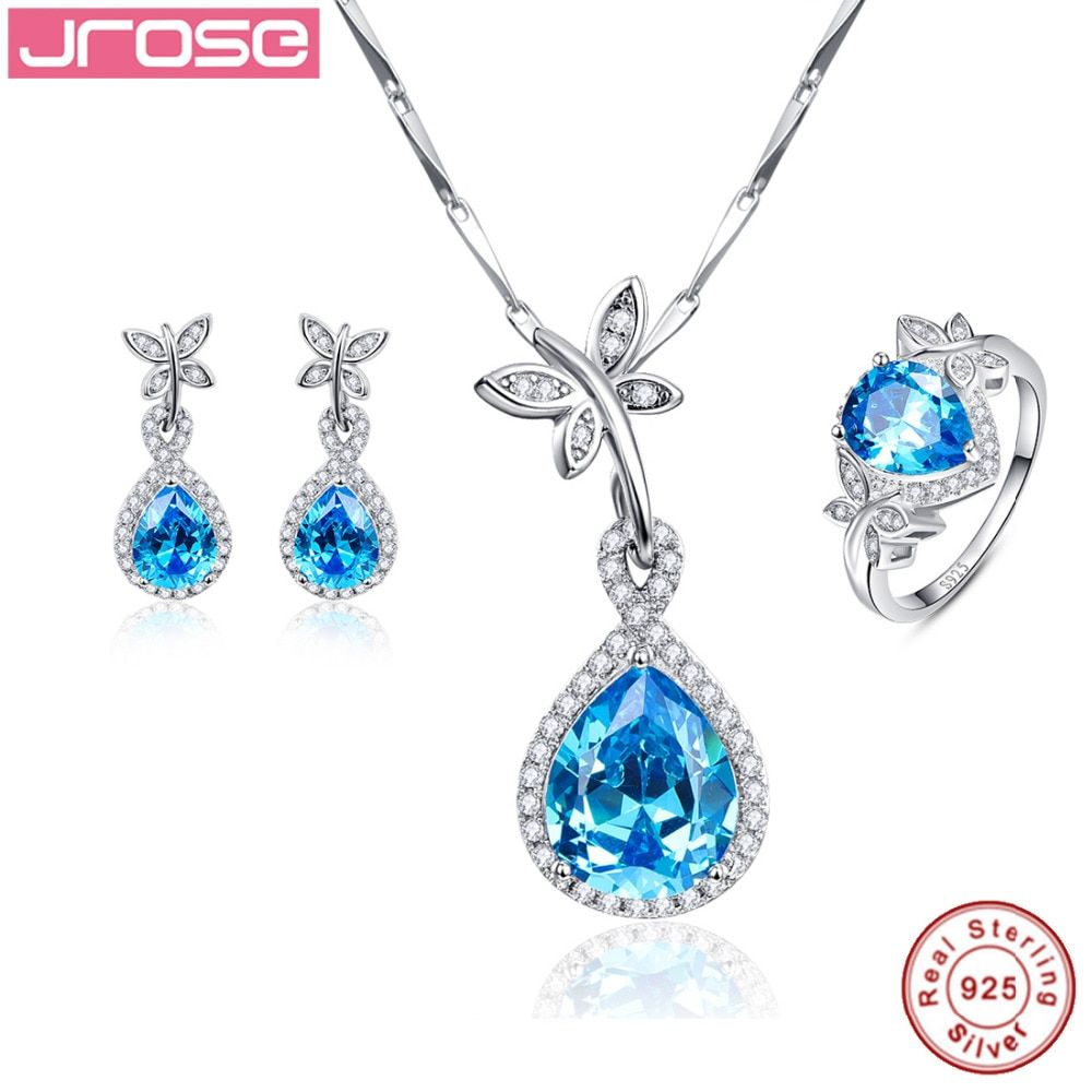 Jrose Wedding Bridal Jewelry Sets 100% Solid 925 Sterling Silver Blue CZ Drop Earrings Ring Necklace Fine Jewelry for Women