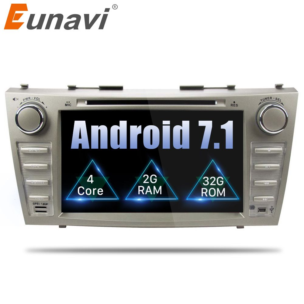Eunavi 8 inch quad core 2 din Android 7.1 car dvd player car gps stereo for toyota camry 2006 2007 2008 2009 2011 with bluetooth