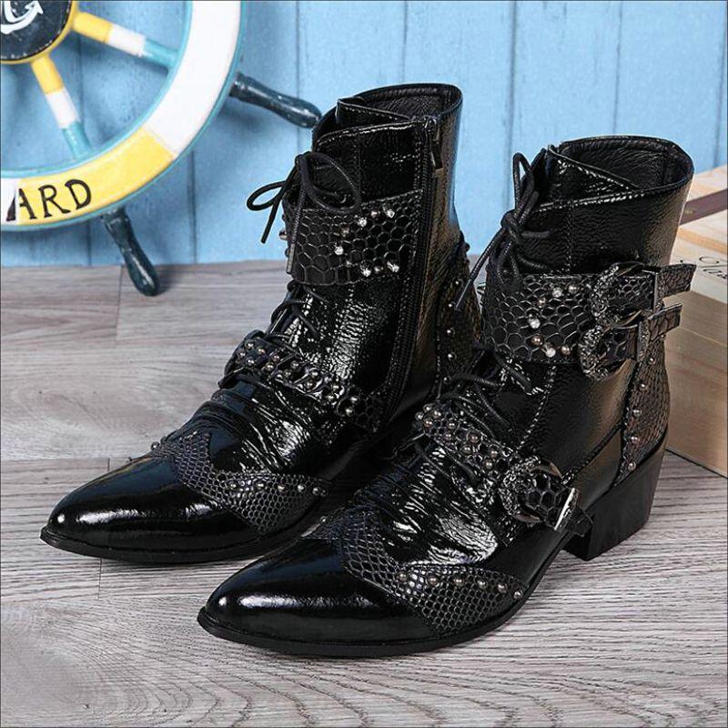 Männer Niet Motorrad Boot Metall Kappe Mode Herren Stiefel Zipper Stiefeletten Stiefel Männer Echtes Leder Hohe Qualität Winter Boots' männer