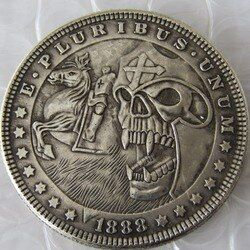 HB (05) HN ee.uu. 1888 Dólar Morgan cráneo zombi esqueleto y caballo tallado a mano copia monedas