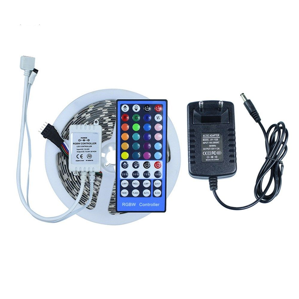 IR Remote controller led strip light 5050 RGBW RGBWW DC12V Not waterproof LED tape light With 12V2A EU power adapter