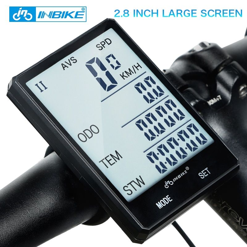 INBIKE 2.8'' Large <font><b>Screen</b></font> Bicycle Computer Wireless Bike Computer Rainproof Speedometer Odometer Cycling Measurable Stopwatch