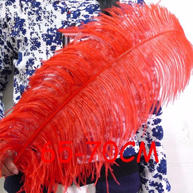 5 teile/los 65-70 cm Red Straußenfedern für DIY Handwerk Karneval Party Dekorative Hochzeit Mittelstücke Dekoration Gefieder Plume