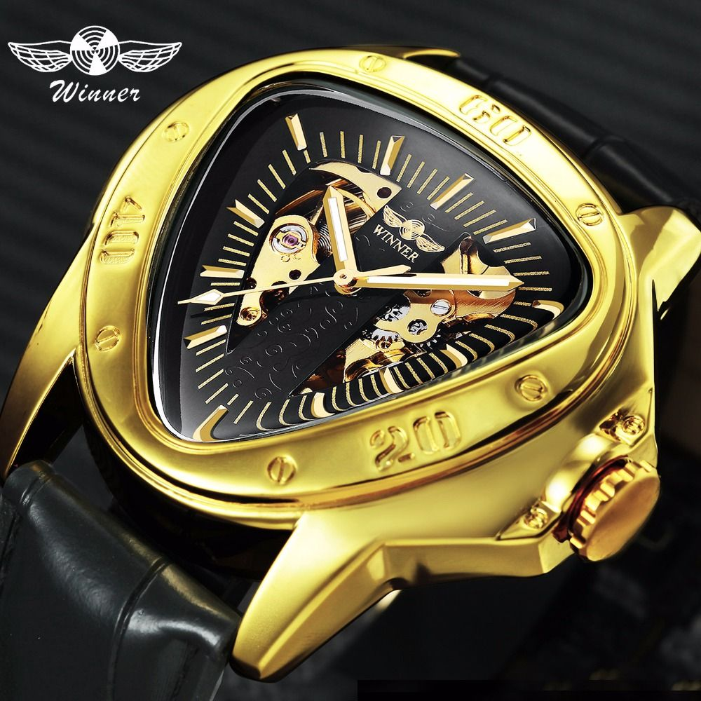 WINNER Official Sports Automatic Mechanical Men Watch Racing Triangle Skeleton Wristwatch Top Brand Luxury Golden + Gift Box