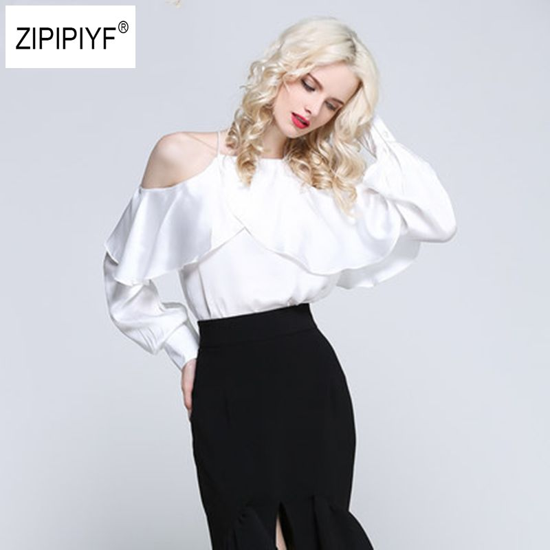 2018 new spring summer ruffle lantern sleeve blouse shirt halter neck off shoulder top women chiffon Sexy blusa feminina B1088