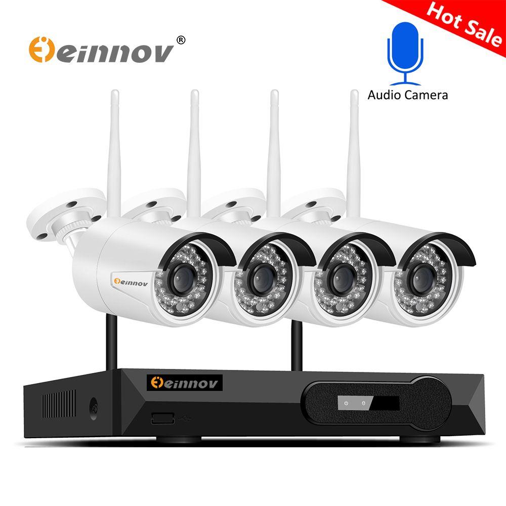 Einnov H.265 4CH CCTV System 5MP 2592*1944 Wifi IP Kamera Wasserdicht Onvif Motion Erkennen Aduio Rekord Überwachung Kamera kit
