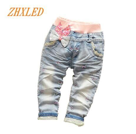 Новый модный бренд 2017 штанишки для малышей Детская одежда для девочек кружева цветок Хлопковые джинсы для маленьких размер девушка От 0 до 4 ...