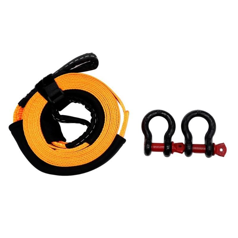VODOOL 5m 5 Tons Heavy Duty Car Road Recovery Tow Strap Towing Ropes with 2 Tow Hooks Car Accessories Styling Car Towing Ropes