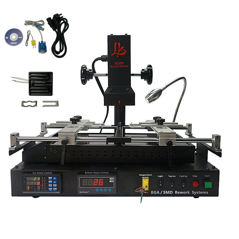LY IR8500 IR BGA reballing machine upgrated from the IR6500 V.2 and IR6000 V.3 with 80mm 450W Infrared Top ceramic heating plate