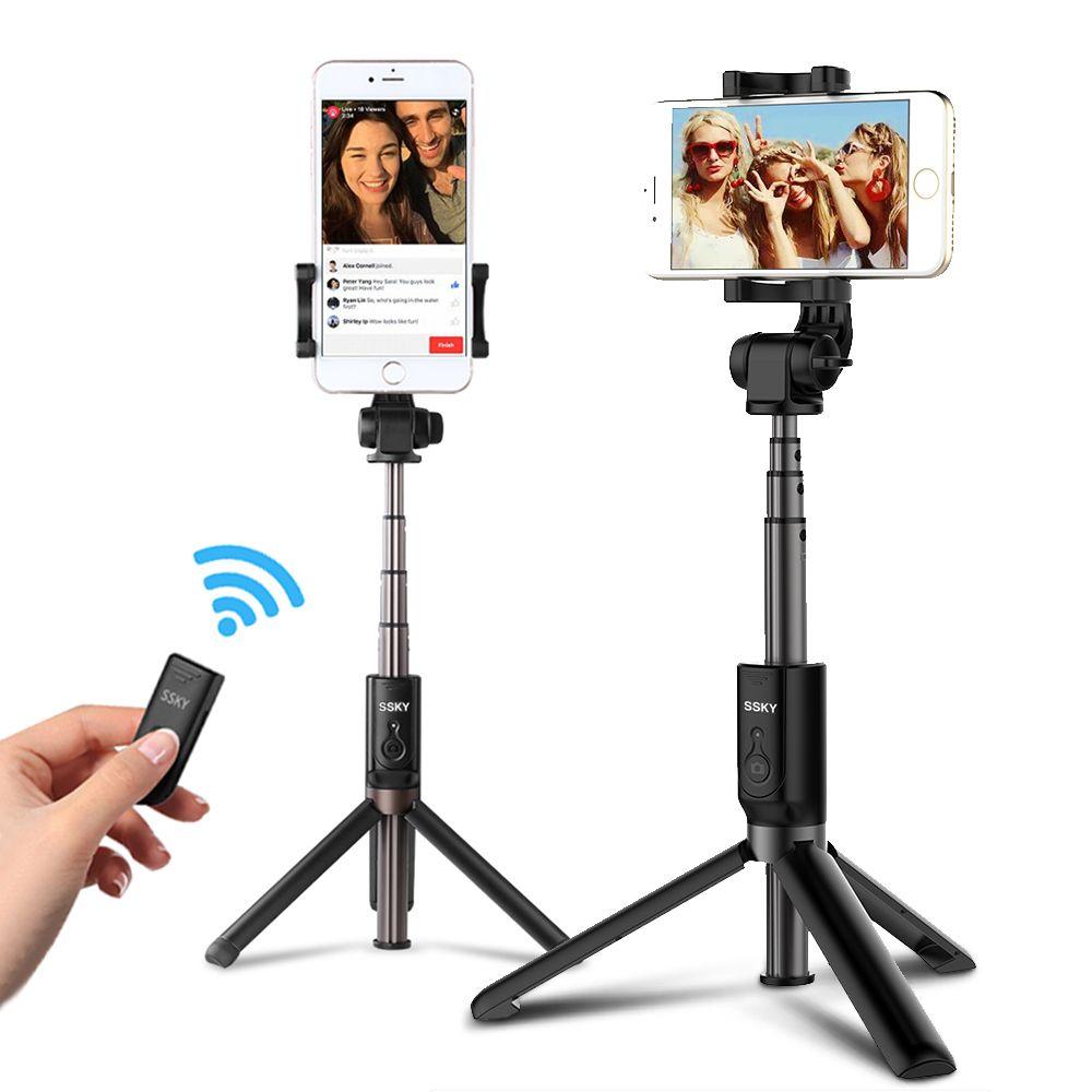3 en 1 Selfie bâton téléphone trépied extensible 26 pouces monopode avec télécommande Bluetooth pour Smartphone iPhone X 8 6 Samsung S8 S9 Note