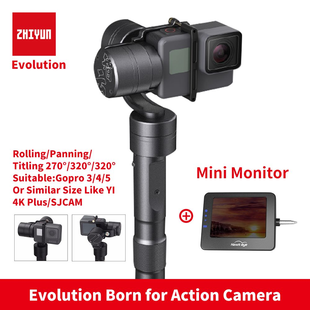 Zhiyun Z1 EVOLUTION 3 Axis Gimbal Brushless 320 Degree Moving Handheld Gimbal Stabilizer for GoPro sjcam YI Action Cameras