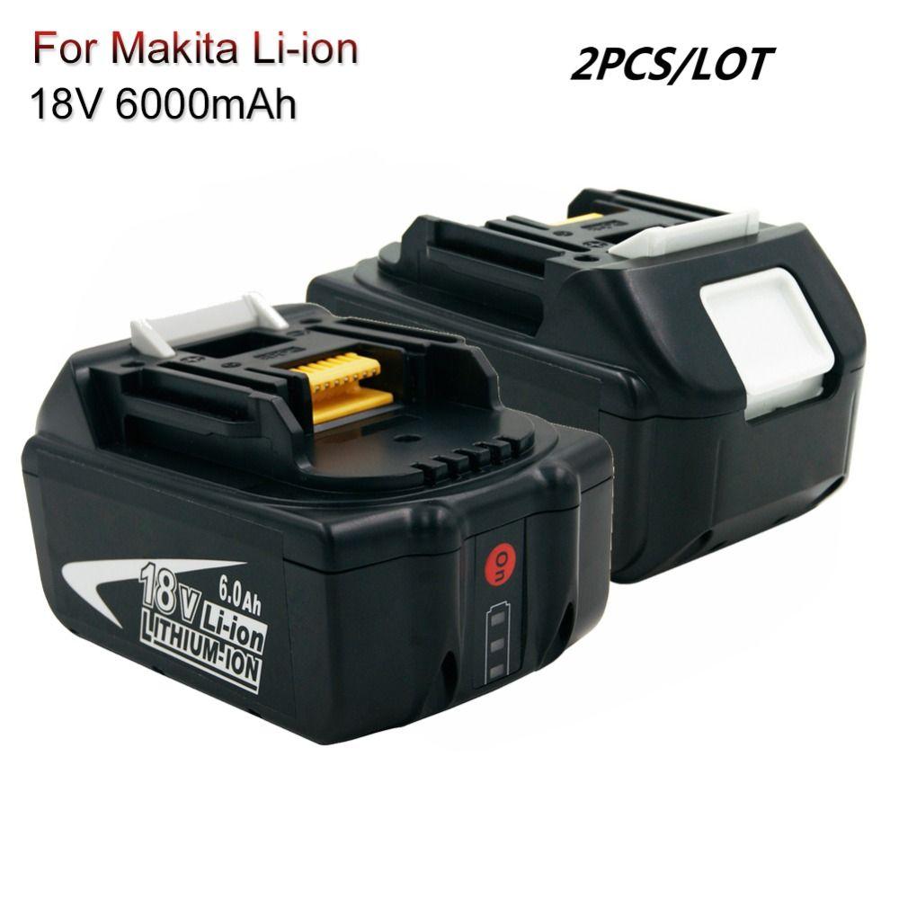 2 PCS BL1860 akku mit LED 18 V 6.0A Li-Ion cordless Power Werkzeuge batterien für Makita BL1830 BL1850 BL1840 LXT400