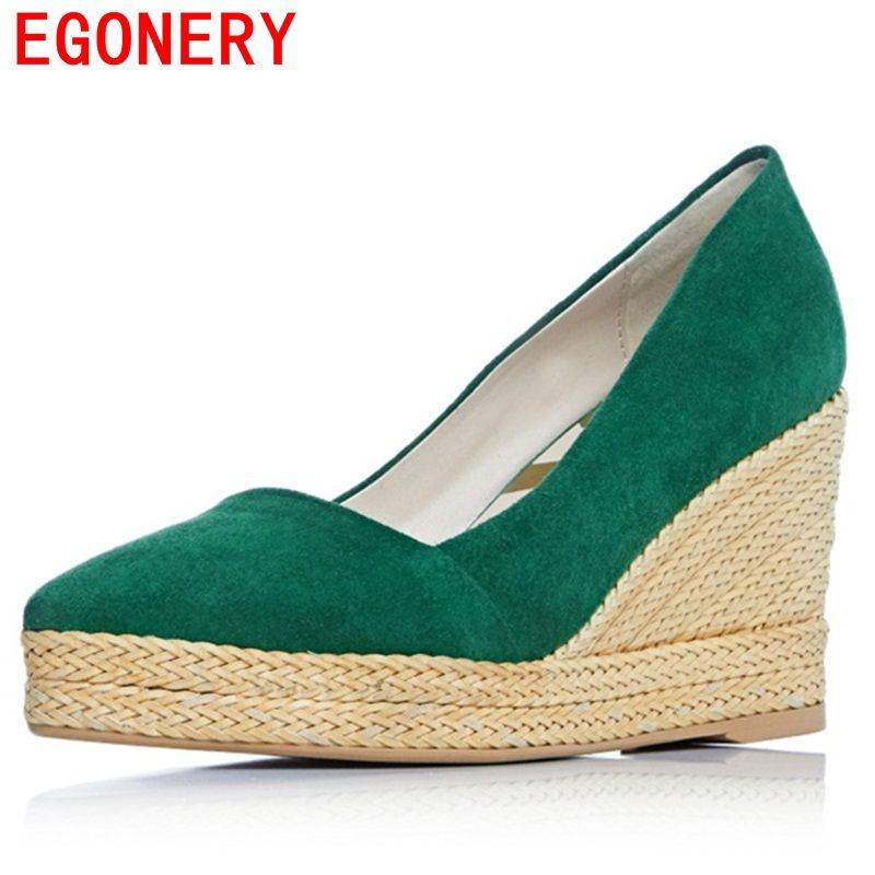 EGONERY women pumps suede wedges cool and refreshing dew instep special popular high heels pointed toe spring concise shoes