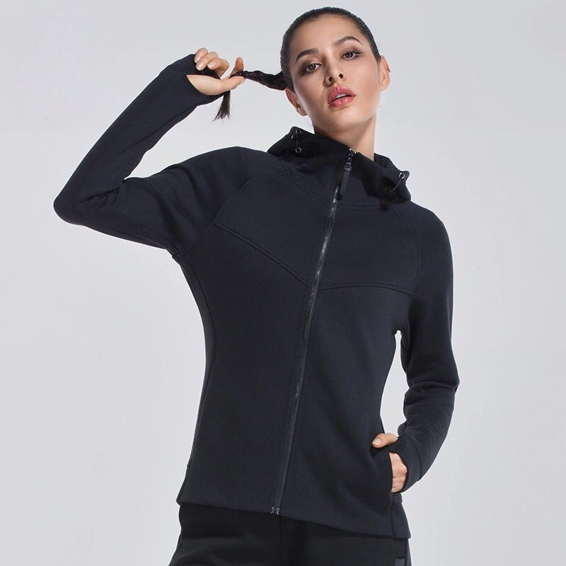 Autumn Winter Women Running Jackets Long Sleeve Cotton Hooded Coat Thumb Hole Design Yoga Tops Gym Fitness Loose Sports Clothing