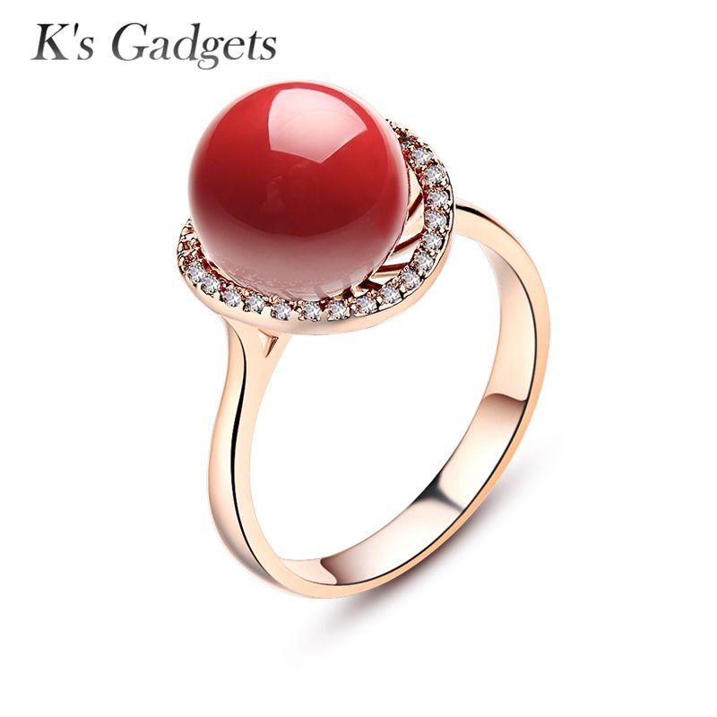 Bague corail artificielle rouge Anel pour femmes en or Rose Anel De Pedra Vermelha plaqué argent gros anneaux zircon cubique rouge anneaux pour femmes