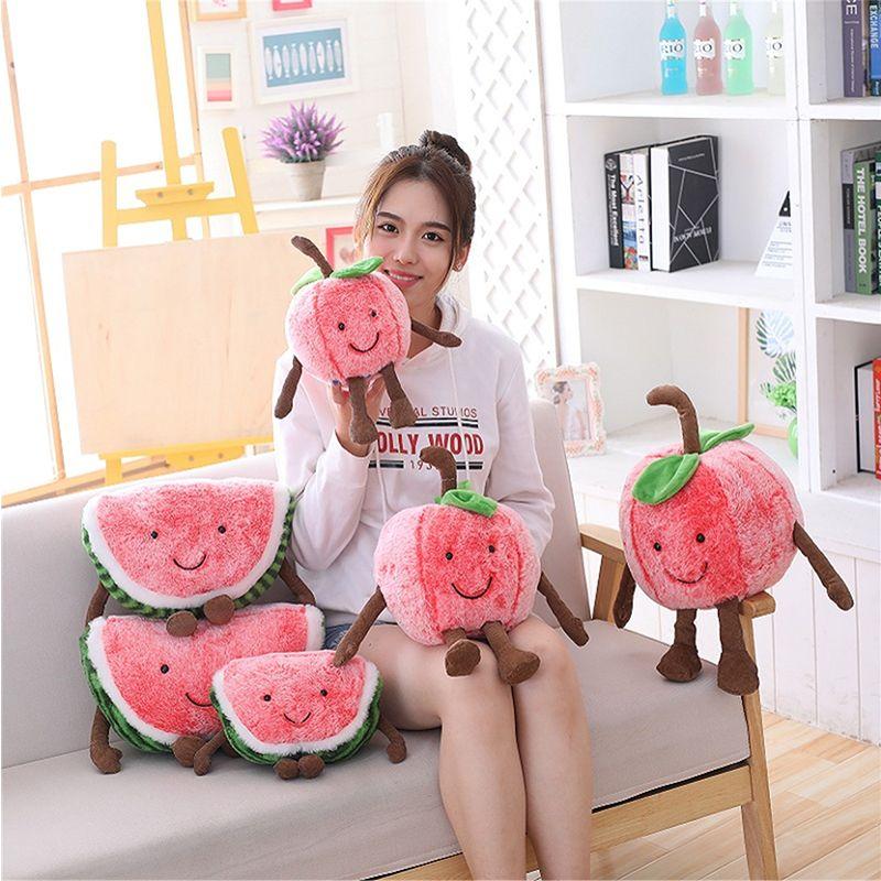 Mignon sourire dessin animé pastèque cerise en peluche poupées en peluche jouets Fruits doux été oreiller coussin enfants filles Valentines cadeaux