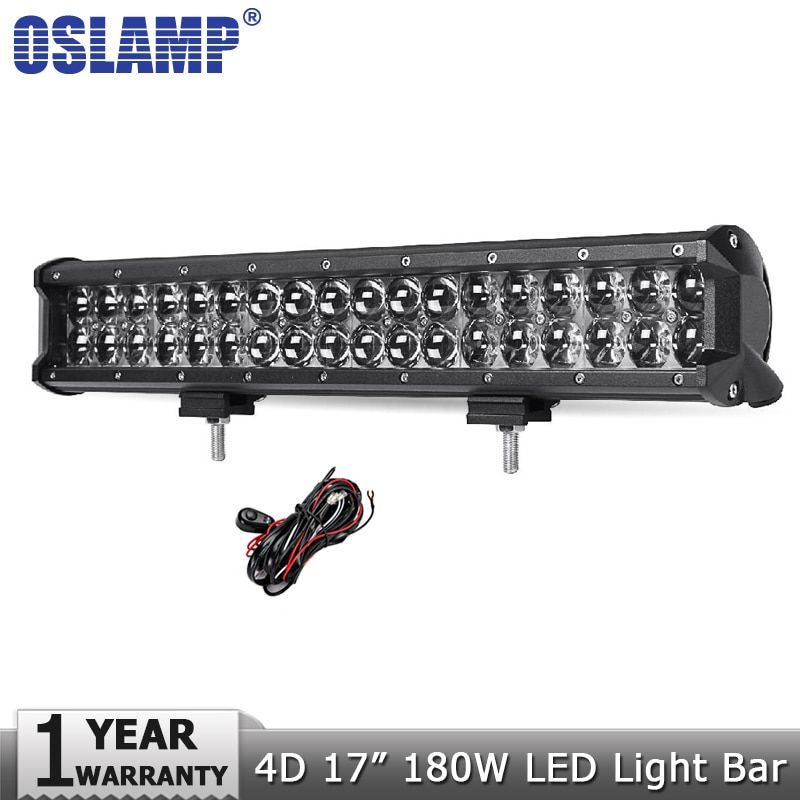 Oslamp 4D 17inch 180W LED Light Bar Offroad Car Auto Led Driving Lamp Work Light Bar for Trucks Boat ATV SUV 4X4 4WD DC12v 24v