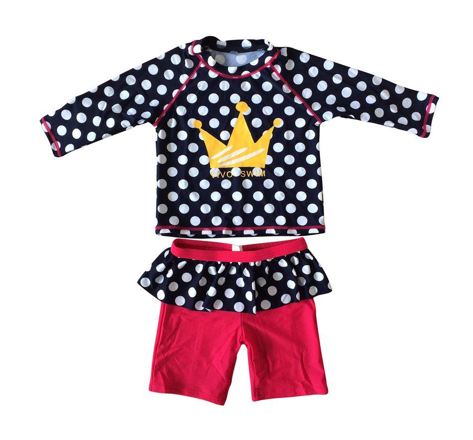 Bonverano (TM) Infant Mädchen Sunsuit Badeanzug UPF 50 + UV Schutz L/S Blau Weiß Dot Rot unteren Zwei Badeanzug Rashguard