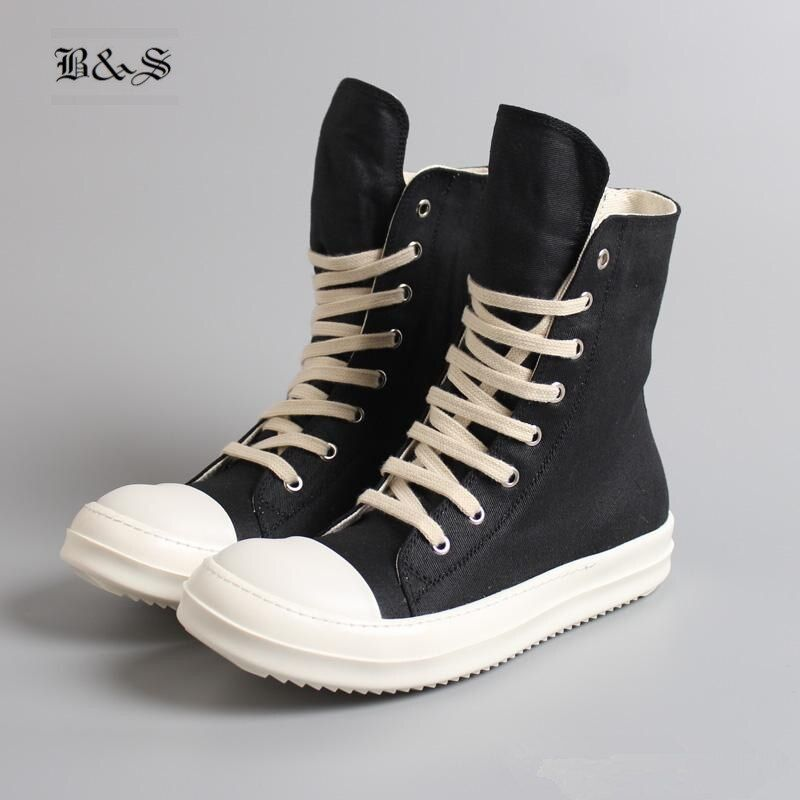 Black& Street 2018 Hip Hop Street Casual Rock Genuine Leather Wax Canvas Boots Cool Classic Lace Up Wax Canvas Flat Shoes