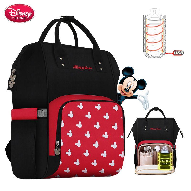 Sac à langer Disney sac à dos USB bouteille isolation sacs Minnie Mickey grande capacité voyage Oxford alimentation bébé momie sac à main