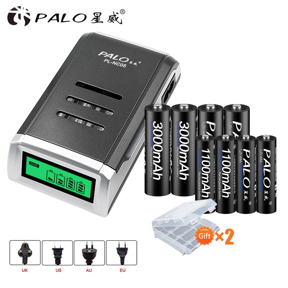 PALO 4 pièces 1.2 V NI-MH aa piles rechargeables + 4 pièces 1.2 V Piles rechargeables aaa + un intelligent Chargeur de Batterie intelligent