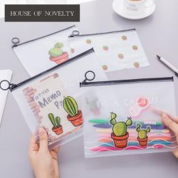 Cactus Dull Polish Transparent PVC A5 File Folder Document Filing Bag Stationery Bag