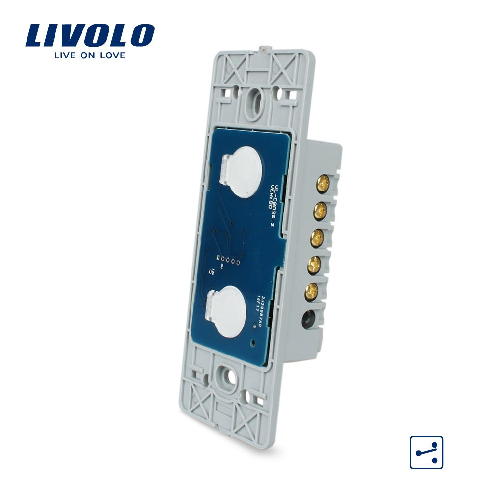 Livolo US Standard Base Of  Wall Light Touch Screen Switch, 2Gang 2Way, AC 110~250V ,Without glass panel,VL-C502S