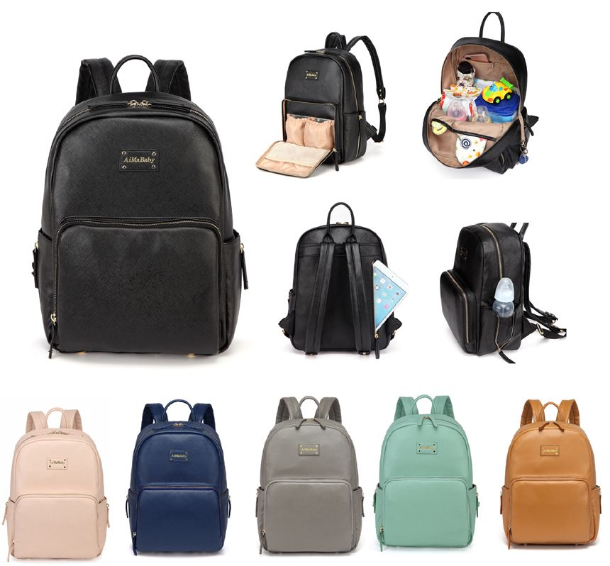 Fashion Elegant Practical PU Leather Baby Changing Nappy Diaper Bag Backpack with Changing Pad--AMB168