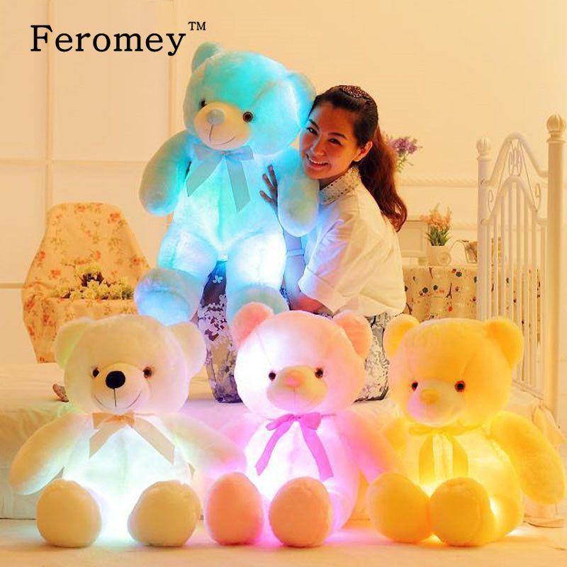 32/50cm Big Colorful Glowing Teddy Bear Luminous Plush Toys Kawaii Light Up Led Teddy Bear Stuffed Toys Doll Kids Christmas Gift