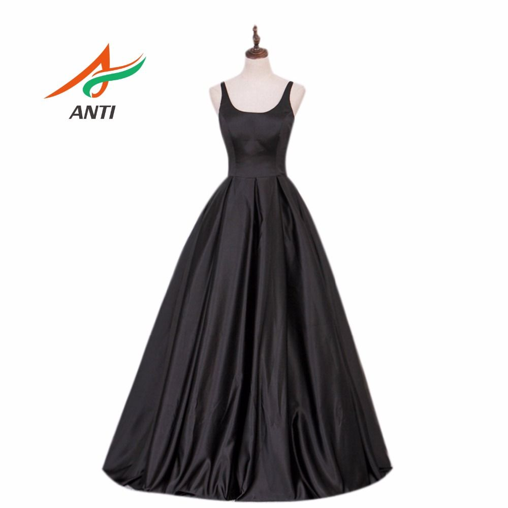 ANTI High-quality A-Line Evening Dress Long Satin Formal vestidos Black Fashion Elegant Evening Gowns Cheap Party Dress HQY926